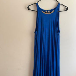 BOSTON PROPER -bright blue, asymmetrical cut dress